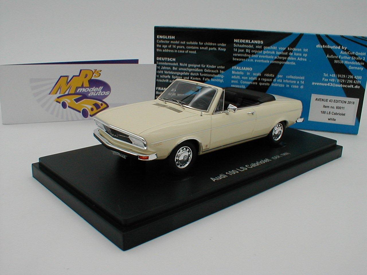 Autocult avenue 43 60011 - audi 100 ls cabriolet bj.1968 in  elfenbein  1 43