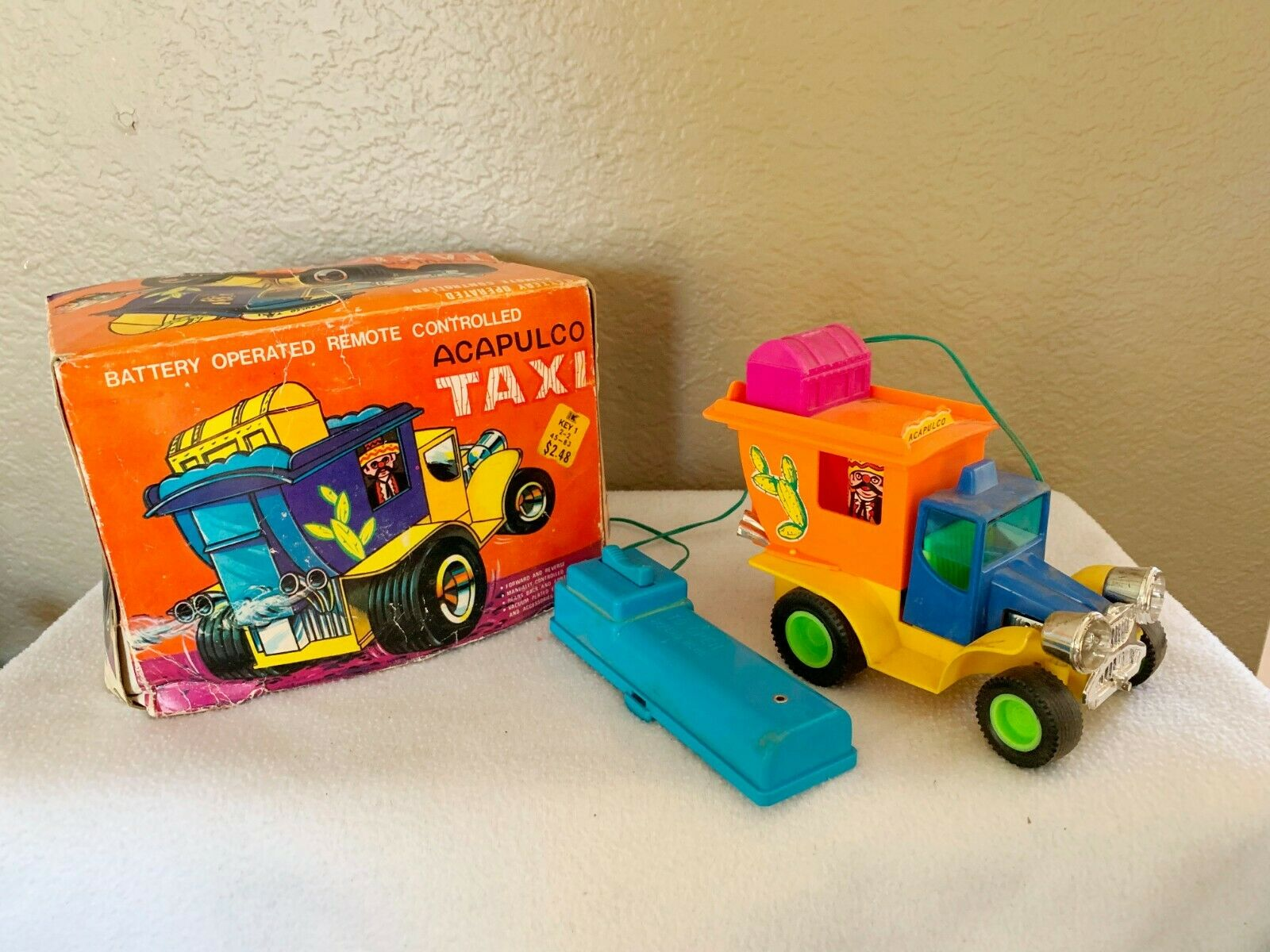 Vintage Alcapulco Taxi  Toy-Battery Remote Control by Marx--Hong Kong 1971
