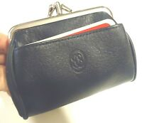 Buxton Large Genuine Leather Silver Frame Coin Purse