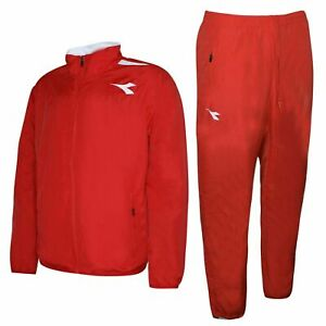 Diadora-Mens-Sweat-Suit-Tracksuit-Top-Joggers-Red-Pants-Fitness-Gym-160296-45030