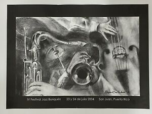 "Raymond Cruz Corchado, IV festival Jazz Boriquen Poster, Porto Rico Art 16""x22"""