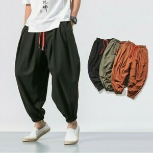 Men/'s Retro Cotton Chic Wide Leg Long Pants Linen Vintage Harem Trousers Loose