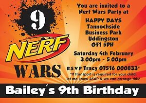 Details About NERF Wars Personalised Party Birthday Invitations