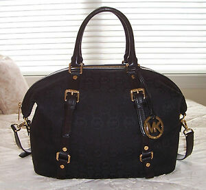 nwt michael kors bedford large satchel mk monogram jacquard blk blk rh ebay com
