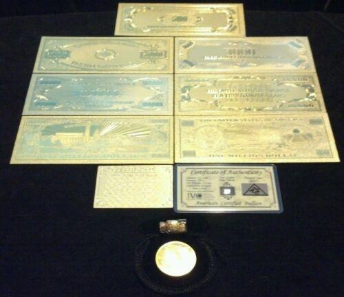 GOLD Rep.*Banknote SET $500-$1B W//COA+COIN/& FLAKE FREE S/&
