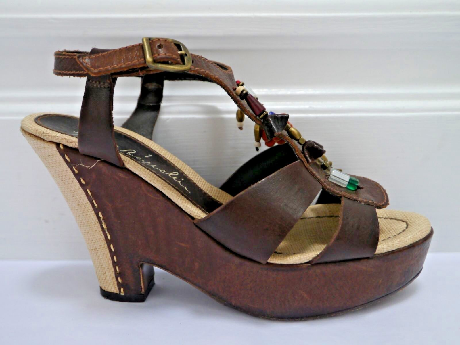HENRY BEGUELIN brown leather beaded charm platform wedge wedge wedge sandals Italian size 37 8e8af3