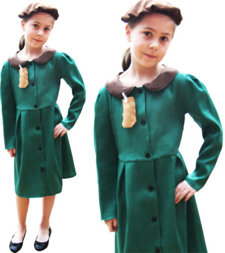 Childrens Kids Girl Fancy Dress Costume World War Childs Outfit 6-10 Yrs