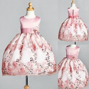 Dusty-Rose-Floral-Satin-Embroidery-Dress-ALL-SIZES-Wedding-Flower-Girl-09