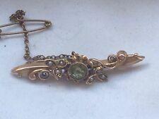 Antique Art Nouveau Hallmark 15ct Gold Peridot  & Pearl Brooch c1895