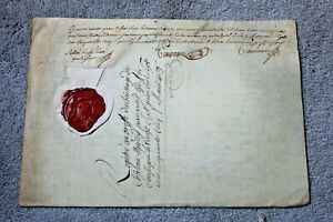 1755-Louis-XIV-king-Squire-and-advisor-signed-castle-Lease-parchment-WAX-stamp