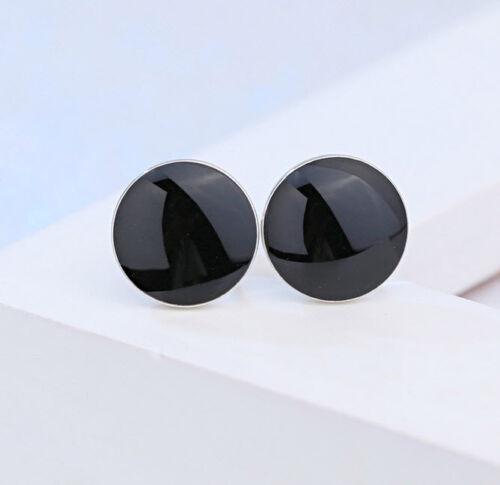 Nuevo señores Unisex negros señora pendientes 925 plata aretes pendiente 9mm