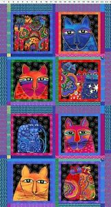 Pre-cut-Cotton-Fabric-Panel-Laurel-Burch-Feline-Frolic-Cat-Blocks-w-Gold-Met