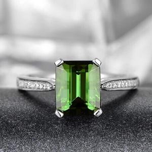 1.82ct 100% Natural Green Tourmaline Diamond Gorgeous Ring In 14K White gold