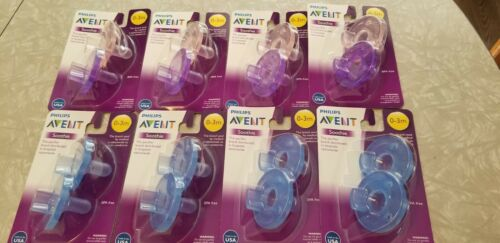 PHILIPS AVENT SOOTHIE PACIFIERS 0-3M 8 PACK 16 LOT