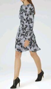 Sleeve Lauren Print Reiss Taille une utilisé Designer fois 14 Long Leaf Dress ZOFAvwxxq