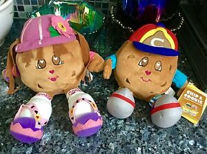 SET OF 2 GUND FAMOUS AMOS MASCOT CHOCOLATE CHIP & COOKIE PLUSH DOLL