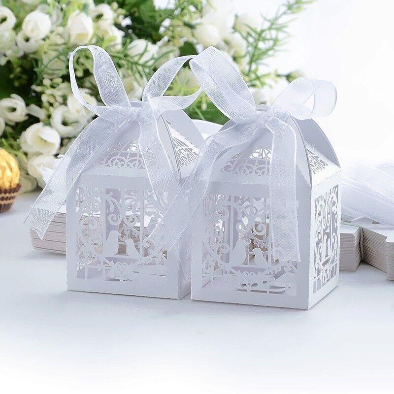 10,20,50EDEL Gastgeschenk Hochzeit Bonboniere Box Schachtel Kartonage weiß Taube
