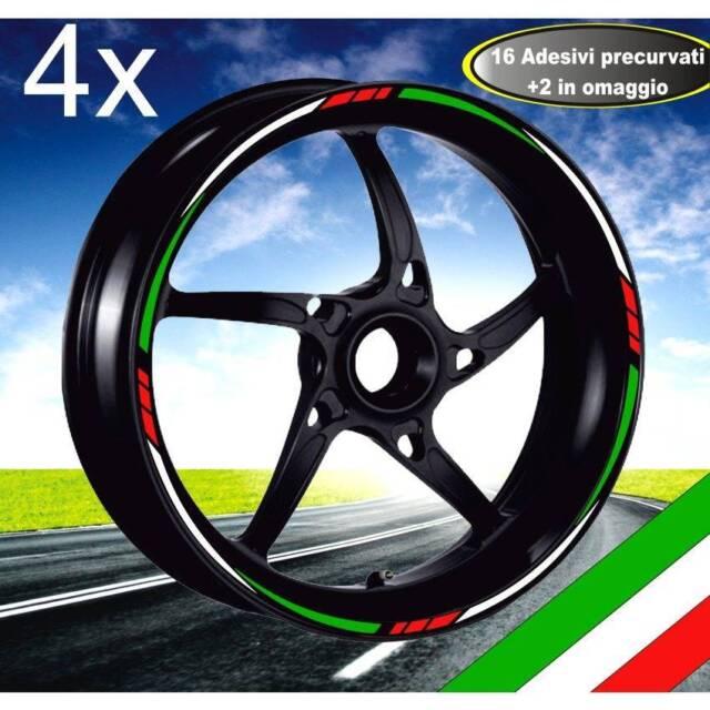 PROFILI CERCHIO TRICOLORE ITALIA ADESIVI ADESIVO CERCHI YZF-R6 RUOTE MOTO