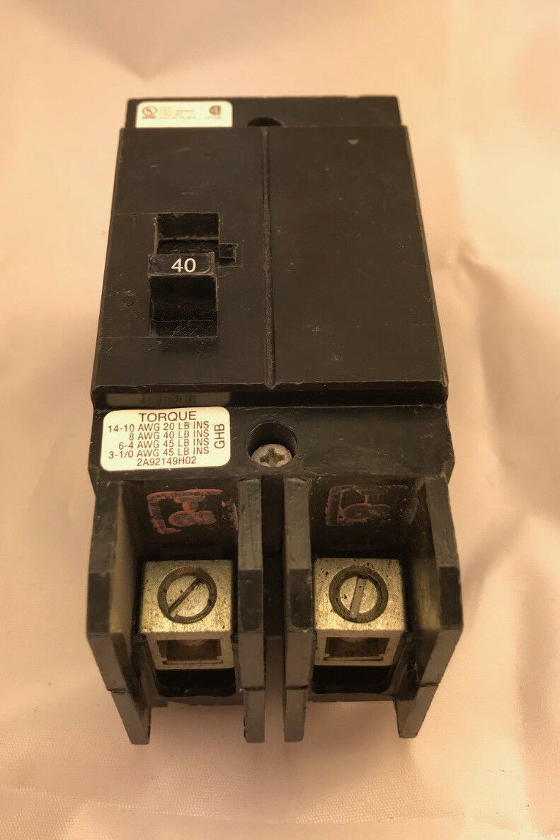 Cutler Hammer 40a 2 Pole Type Ghb Circuit Breaker Ghb2040 Ebay Installation With A Pb30 Inlet On Main