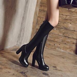 Ladies-High-Block-Heel-Side-Zip-Knee-High-RidIng-Boots-Sexy-Knight-Shoes-Size-9