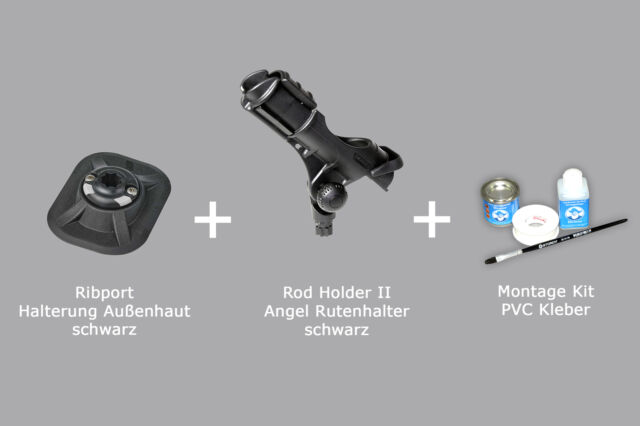 Set: Rod Holder II + Ribport + Kleber Kit, (schwarz) Railblaza Rutenh 03-0007-11