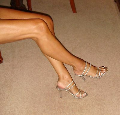 Aldo Shoes Size 3 or 3.5 (36 EU) Stunning Silver Leather/Elastic Strappy Heels