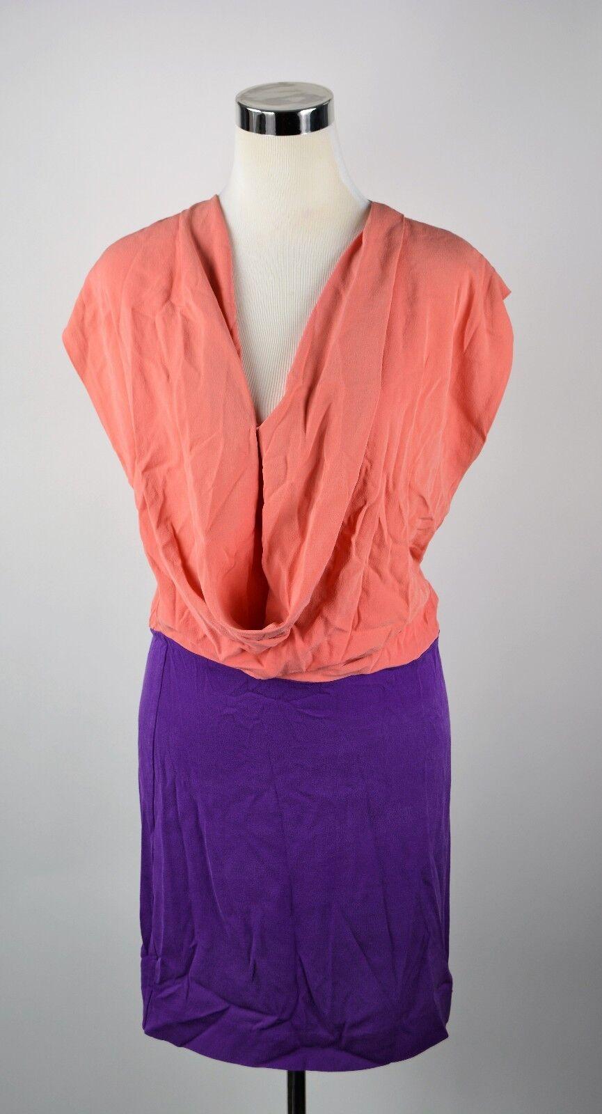 Diane Von Furstenberg Dress Größe 4 Rosa lila 100% Silk DVF REARA