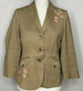 Womens-American-Eagle-Brown-Herringbone-Tweed-Embroidered-Flower-Blazer-Size-M