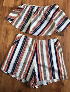 Ladies-Shorts-And-Matching-Cropped-Top-Strips-Vgc-Size-8-10-Outfit-Orange-Navy