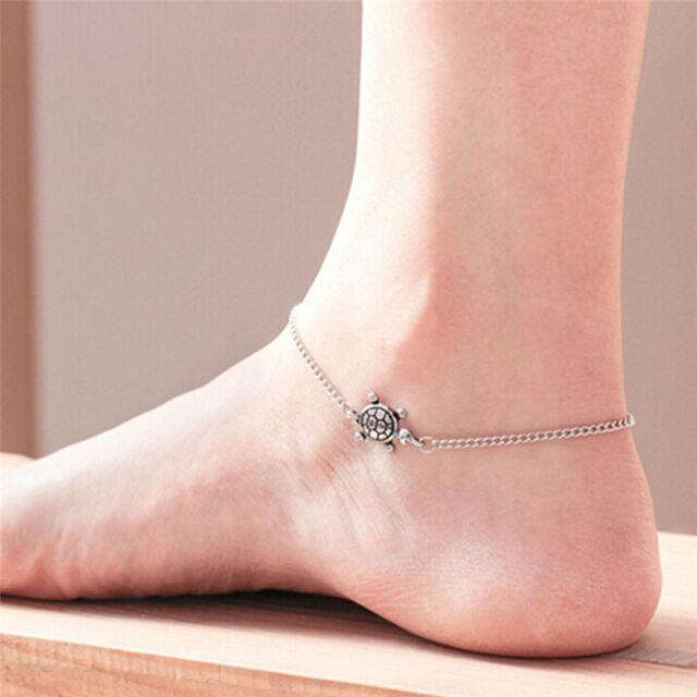 Turtle Simple Chain Anklet Ankle Bracelet Barefoot Sandal Beach Foot Jewelry HU