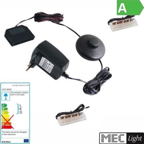 1-6x LED-CLIPS als Glaskantenbeleuchtung Schalter warm-weiß 3000k Trafo
