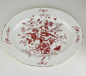 Oval-Serving-Platter-15-1-4-034-Coalport-Cairo-Red-vintage-insects-birds-bone-china