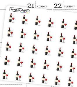 WINE BOTTLE GLASS BEVERAGE PARTY DRINK DAY TIME Condren Erin Planner Sticker R26