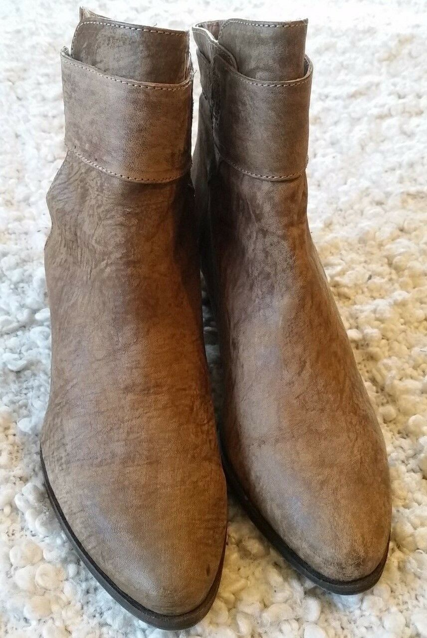 NWOB FREE DISTRESSED PEOPLE WOMEN'S SZ 39 KHAKI DISTRESSED FREE LEATHER 'BELLEVILLE' ANKLE BOO 466f7d