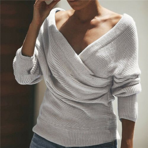 Damen Strickjacke Cardigan Blazer Pullover Strickmantel Sweatshirt V-Ausschnitt