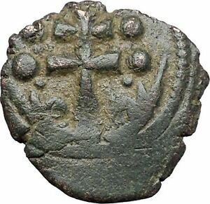 JESUS-CHRIST-Class-H-Anonymous-Ancient-1071AD-Byzantine-Follis-Coin-CROSS-i48087
