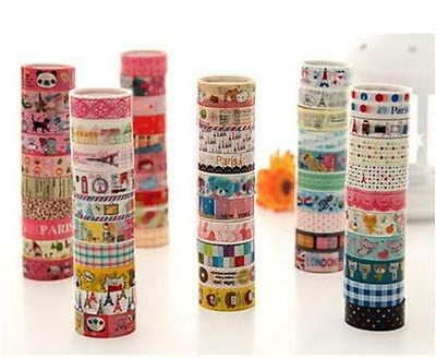 HUS 10 Rolls Kawaii Lovely Deco Cartoon Tape Scrapbooking Adhesive Paper Sticker