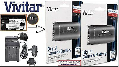 2-Pcs Hi Capacity LP-E6 Battery & Rapid Charger For Canon EOS 6D 7D 60D 70D