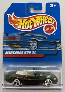1998-HOTWHEELS-MERCEDES-500-SL-Verde-Vintage-Nuovo-di-zecca-MOC-molto-rara