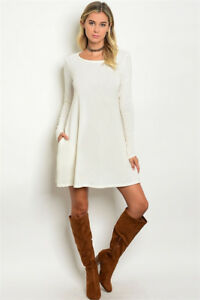 Womens' Soft SNOW BUNNY Off White Sweater Tunic Pocket Dress Loose ...
