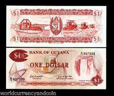 GUYANA $1 1989 P21F BUSH POLDER FALL RICE UNC CURRENCY MONEY BILL 10 BANK NOTE