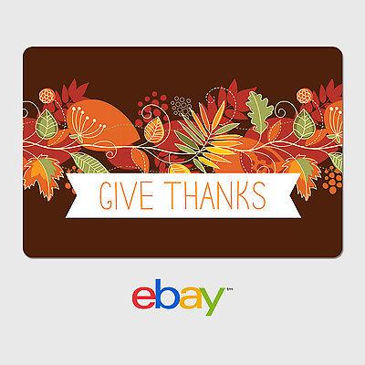 eBay Digital Gift Card - Holiday Themes - Give Thanks