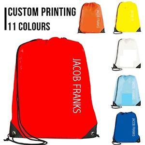 Personalised Drawstring Bag School PE Swim Custom Print Various Colour Bags