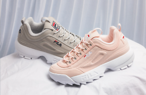 FILA 17FW DISRUPTOR II SUEDE MODEL GREY & PINK UNISEX SHOES US Price reduction best-selling model of the brand