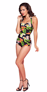 Esther Williams Carnival Classic Sheath Pinup Floral Swimsuit 1 Piece E11118