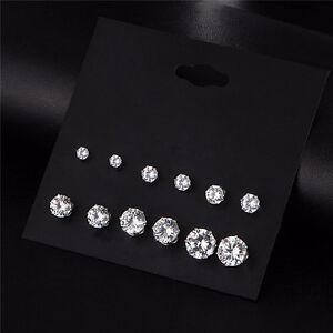New-Chic-6-Pairs-Women-Silver-CZ-Crystal-Rhinestone-Ear-Stud-Earrings-Charm-Gift