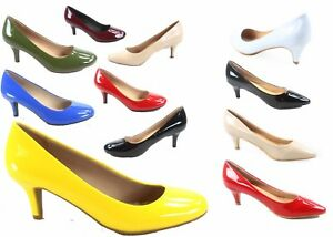 NEW-Women-039-s-Comfort-Patent-Low-Heel-Round-Pointed-Toe-Pump-Shoes-Size-6-10