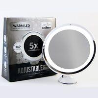 Led Makeup Mirror - Adjustable 5 X Magnification Lighted, Vanity, Bath, Battery