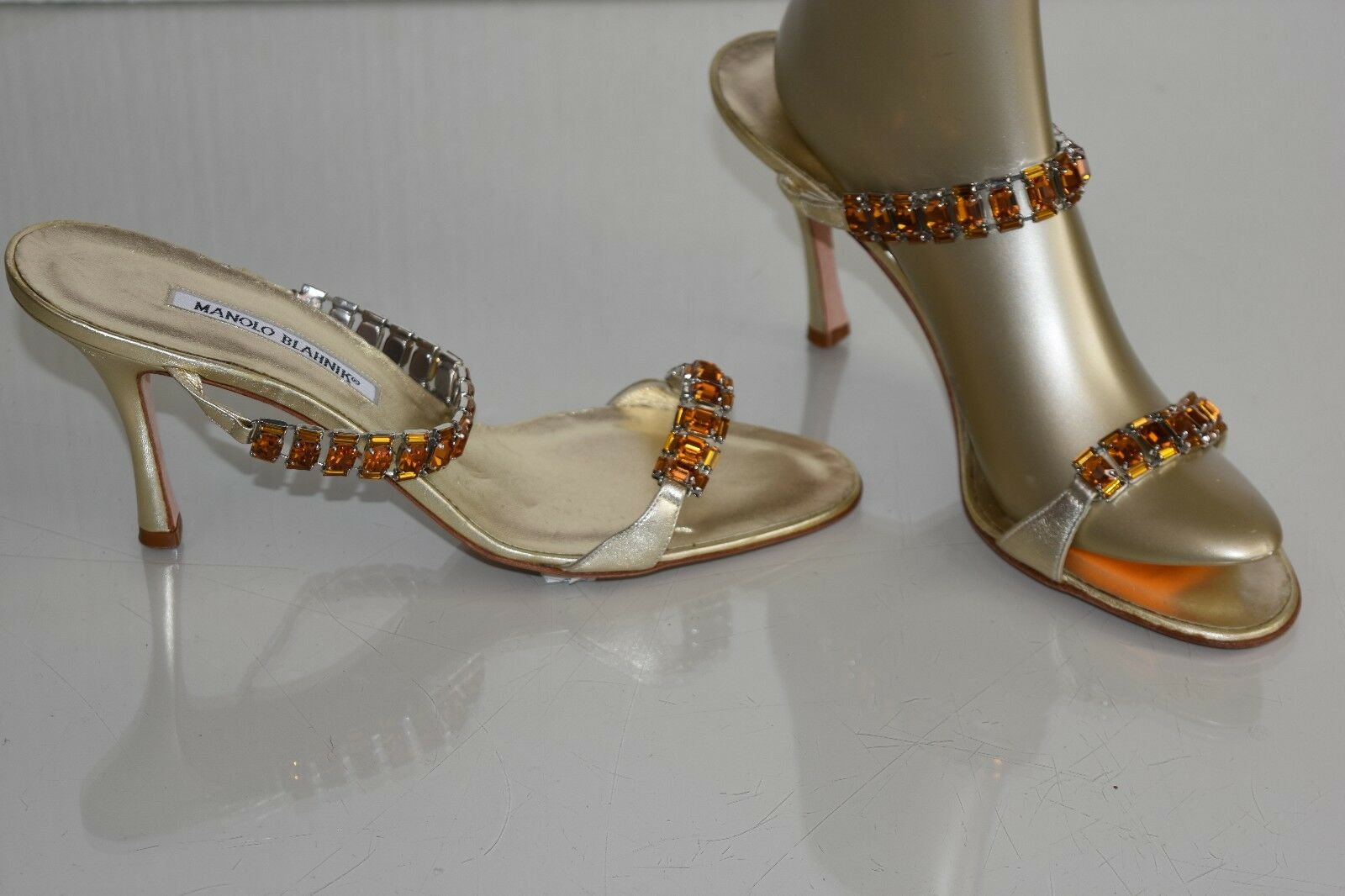 1085 NEW MANOLO BLAHNIK DALLI Jeweled gold Platinum SANDALS SHOES 39.5 40 41.5
