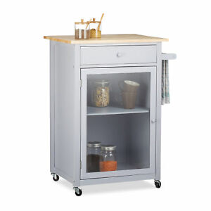 Kuchenwagen Mit Glastur Kuchenschrank Arbeitsplatte Rollwagen Grau